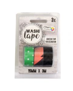 Craft Sensations Adhesive 15mm x 3m Washi Tape 3 Pack - Green, Black and Pink Designs