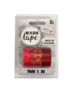 Craft Sensations Adhesive 15mm x 3m Washi Tape 3 Pack - Red Designs
