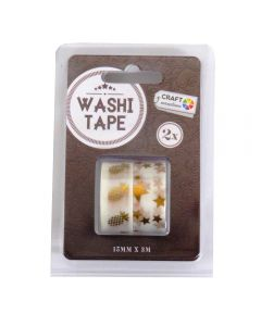 Craft Sensations Adhesive 15mm x 3m Washi Tape 2 Pack - Gold Star and Pineapple