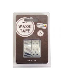 Craft Sensations Adhesive 15mm x 3m Washi Tape 2 Pack - Silver Hearts and Stripe