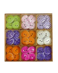 Craft Sensations Wooden Deco Buttons 36 pack - Orange, Purple, Green, Pink