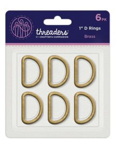 "Threaders 1"" D Rings - Brass (6PK)"