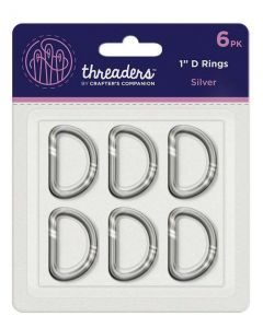 "Threaders 1"" D Rings - Silver (6PK)"