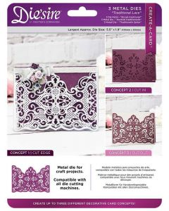 Die'sire Create-a-Card Cut on Edge Metal Die - Traditional Lace