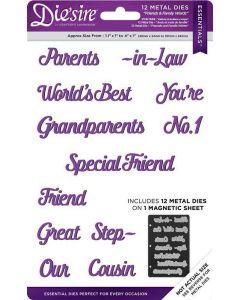 Die'sire Essential Word Bundle Metal Die - Friends & Family