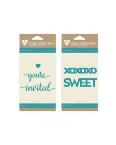 Diamond Press Word Dies - Sweet XOXO and You're Invited