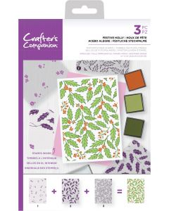 Crafter's Companion Background Layering Stamps - Festive Holly