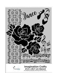 Imagination Crafts A4 Stencil - Musical Rose
