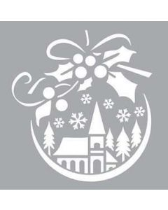 Imagination Crafts 6x6 Christmas Stencil - Village Bauble