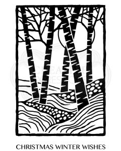 Woodware Clear Singles - Lino Cut - Birch Trees