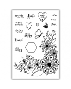 Julie Hickey A6 Stamp - Beautiful Blooms
