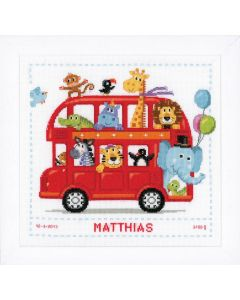 Groves Counted Cross Stich Kit Birth Record- Funny Bus