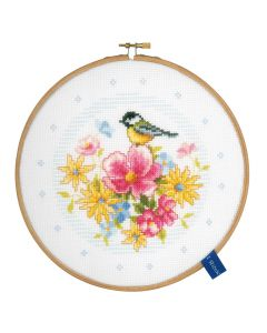Groves Counted Cross Stich Kit with Embroidery Ring - Bird and Flowers