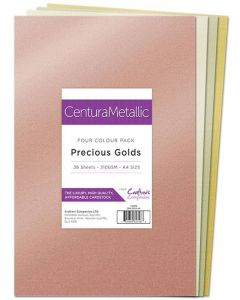 Crafter's Companion Centura Pearl Metallic A4 36 Sheet Pack - Precious Golds