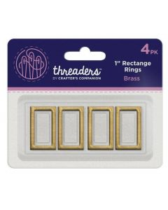 "Threaders 1"" Rectangle Rings - Brass (4PK)"