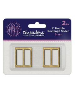 "Threaders 1"" Double Rectangle Slider - Brass (2pk)"