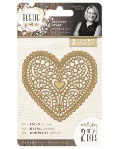 Sara Signature Rustic Wedding Metal Die - Delicate Heart