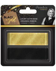 """Sara Signature Black and Gold Collection - Satin Edge Organza Ribbon 1"""" (2pk)"""