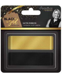 """Sara Signature Black and Gold Collection - Satin Ribbon 0.75"""" (2pk)"""
