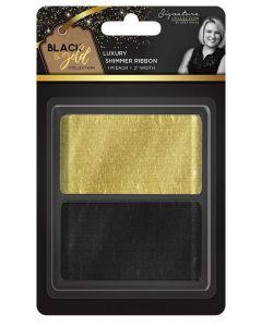 """Sara Signature Black and Gold Collection - Shimmer Ribbon 2"""" (2pk)"""