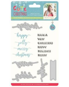 Sara Signature Cute Christmas Collection Die and Stamp - Festive Phrases