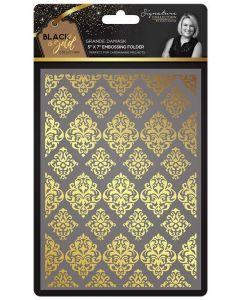 Sara Signature Black and Gold Collection Embossing Folder - Grande Damask