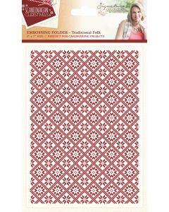 "Sara Signature Scandinavian Christmas Collection 5""x7"" Embossing Folder - Traditional Folk"