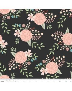 Riley Blake Bliss Fabric - Main Black With Rose Gold Sparkle