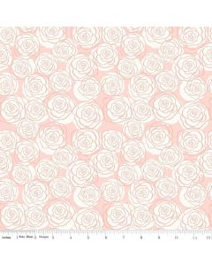 Riley Blake Bliss Fabric - Roses Blush With Rose Gold Sparkle