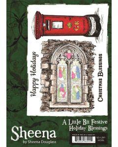 Sheena Douglass A Little Bit Festive A6 Rubber Stamp - Holiday Blessings