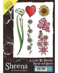 Sheena Douglass A Little Bit Sketchy A6 Rubber Stamp Set - Florals and Hearts