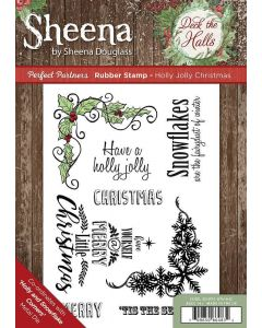 Sheena Douglass Perfect Partners Deck the Halls Rubber Stamp - Holly Jolly Christmas