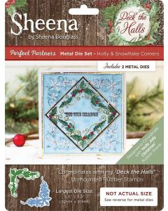 Sheena Douglass Perfect Partners Deck the Halls Metal Die - Holly and Snowflake Corners