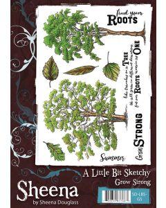 Sheena Douglass A Little Bit Sketchy A5 Rubber Stamp Set - Grow Strong