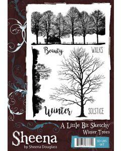 Sheena Douglass A Little Bit Sketchy A5 Rubber Stamp Set - Winter Trees