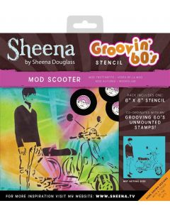 "Sheena Douglass Groovin' 60's 8"" x 8"" Stencil - Mod Scooter"