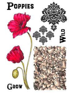Sheena Douglass A5 Stamp - Wild Poppies