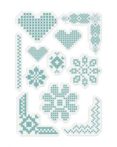 Sara Signature Sew Lovely Clear Acrylic Stamp - Cross Stitch Adornments