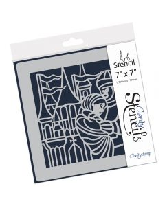 "Claritystamp 7"" x 7"" Stencil - King Arthur and Guinevere"
