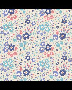 Tilda Plum Garden Fabric - Flower Confetti Blue