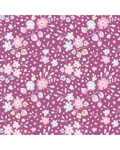 Tilda Plum Garden Fabric - Flower Confetti Plum