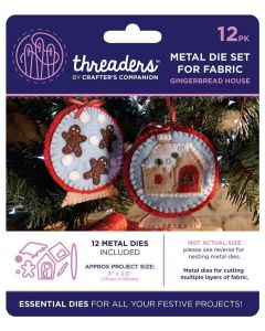 Threaders Snow Globes Fabric Die - Gingerbread House