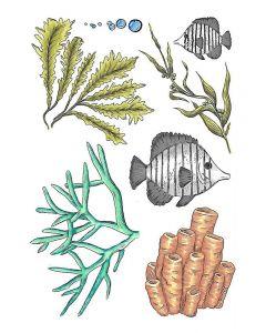 Crafter's Companion A6 Rubber Stamp - Underwater Garden