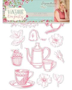 Sara Signature Vintage Tea Party Collection Photopolymer Stamp - Tea for Two