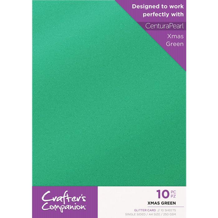Christmas Green.Crafter S Companion Glitter Card 10 Sheet Pack Xmas Green