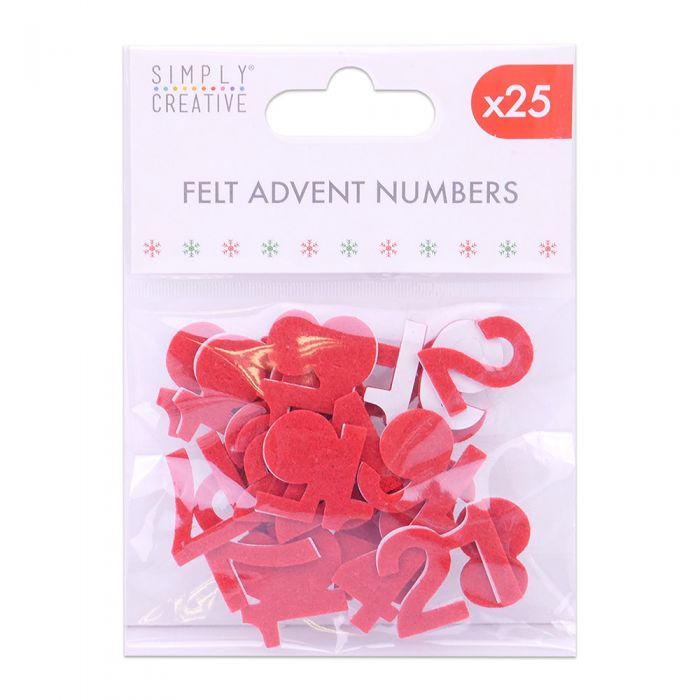 """Christmas Advent Numbers 1 to 25 Iron-On Fabric Glitter Sticker  CALENDAR 2/"""" 1/"""""""